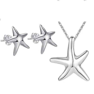 Feshionn IOBI Sets ON SALE - Itty-Bitty Frolicking Stars Sterling Silver Matching Necklace and Earring Set