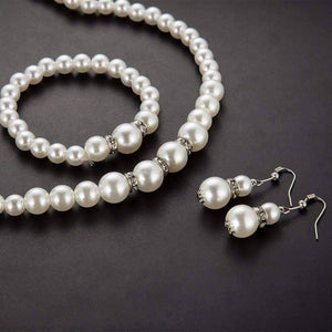 Feshionn IOBI Sets ON SALE - Ivory Pearl and Crystal Bead Necklace Bracelet and Earring Set