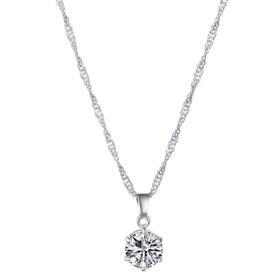 Feshionn IOBI Sets 18K White Gold ON SALE Splendid Solitaires Round IOBI Crystals 2CT Necklace and 1CT Earring Set