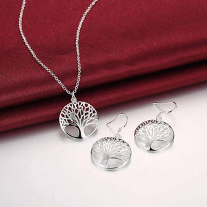 Feshionn IOBI Sets ON SALE - Tree of Life Sterling Silver Necklace and Earrings Set