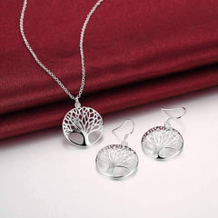 ON SALE - Tree of Life Sterling Silver Necklace and Earrings Set