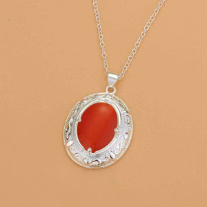 Feshionn IOBI Sets Orange Opalite Cat-Eye Matching Sterling Silver Necklace and Earring Set