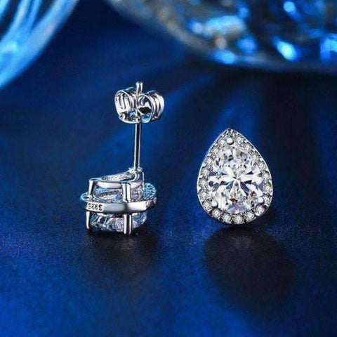 Feshionn IOBI Sets Perfect Pear Austrian Crystal Halo 1CT Stud Earrings and Matching 2CT Bracelet