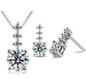 "Feshionn IOBI Sets Platinum ""Evangeline"" Four Stone IOBI Crystals Necklace and Earring Set"
