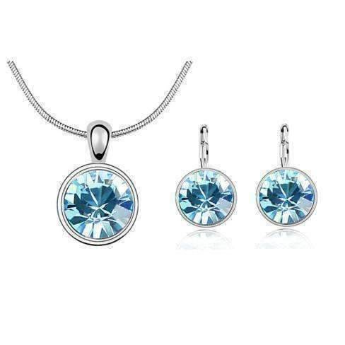Feshionn IOBI Sets Round Aqua IOBI Crystals Necklace and Earrings Set