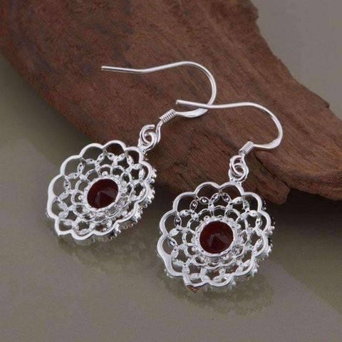 Feshionn IOBI Sets Ruby Red CZ Sterling Silver Filigree Medallion Matching Necklace and Earring Set