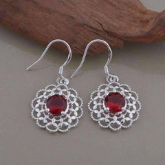 Ruby Red CZ Sterling Silver Filigree Medallion Matching Necklace and Earrings Set