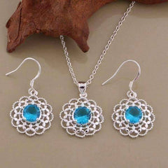 Feshionn IOBI Sets Silver Aqua CZ Sterling Silver Filigree Medallion Matching Necklace and Earring Set