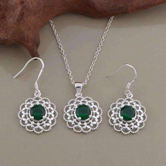 Feshionn IOBI Sets Silver Deepest Green CZ Sterling Silver Filigree Medallion Matching Necklace and Earring Set