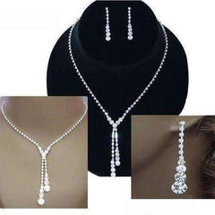 Feshionn IOBI Sets Silver Deluxe Rhinestone Lariat Choker Necklace and Earring Set