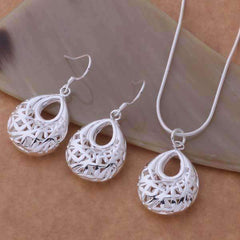 Feshionn IOBI Sets Silver Droplet Sterling Silver Filigree Cage Matching Necklace and Earring Set