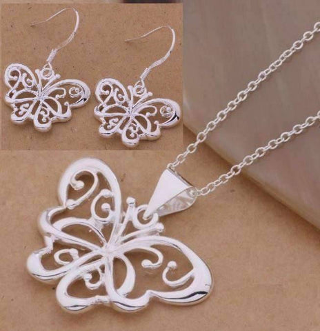 Feshionn IOBI Sets Silver Flights of Fancy Sterling Silver Butterfly Matching Necklace and Earring Set