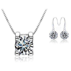 Feshionn IOBI Sets Silver FREE GIFT - When You Buy Naked Swiss CZ Solitaire Necklace Receive FREE Pair of Naked IOBI Crystals Drill Earrings