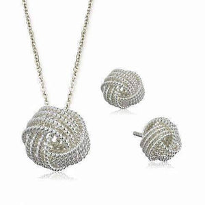 Feshionn IOBI Sets Silver Infinite Love Knot Sterling Silver Matching Necklace and Earrings Set