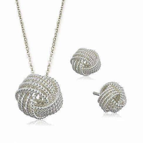 Feshionn IOBI Sets Infinite Love Knot Sterling Silver Matching Necklace and Earrings Set