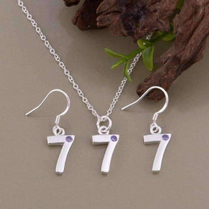 Feshionn IOBI Sets Silver Lucky Number 7 Sterling Silver Matching Necklace and Earring Set