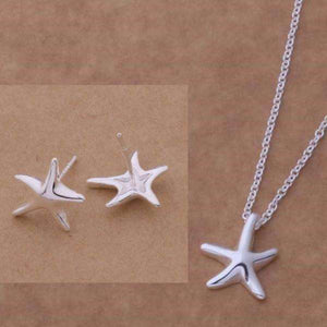 Feshionn IOBI Sets Silver ON SALE - Itty-Bitty Frolicking Stars Sterling Silver Matching Necklace and Earring Set