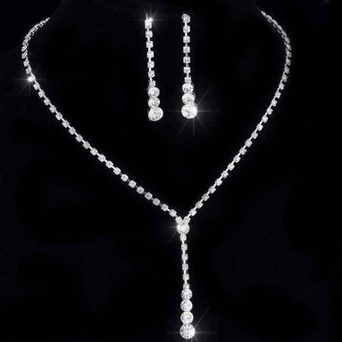 Feshionn IOBI Sets Silver ON SALE - Rhinestone Lariat Choker Necklace and Earring Set