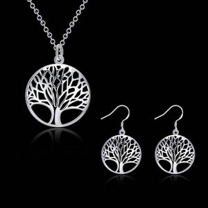 Feshionn IOBI Sets Silver ON SALE - Tree of Life Sterling Silver Necklace and Earrings Set