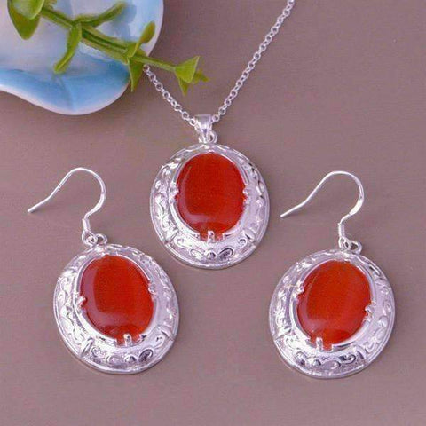 Feshionn IOBI Sets Silver Orange Opalite Cat-Eye Matching Sterling Silver Necklace and Earring Set