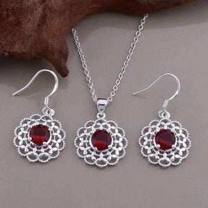 Feshionn IOBI Sets Silver Ruby Red CZ Sterling Silver Filigree Medallion Matching Necklace and Earring Set