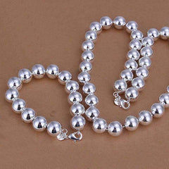 Feshionn IOBI Sets Silver Set Bold Beads Sterling Silver Matching Bracelet and Necklace Set