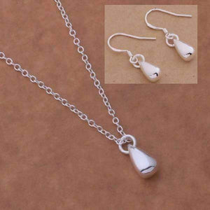 Feshionn IOBI Sets Silver Tiny Teardrop Sterling Silver Matching Necklace and Earring Set