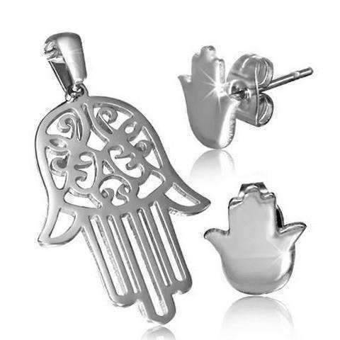 Feshionn IOBI Sets Stainless Steel Stainless Steel Hamsa Hand Necklace and Stud Earring Set