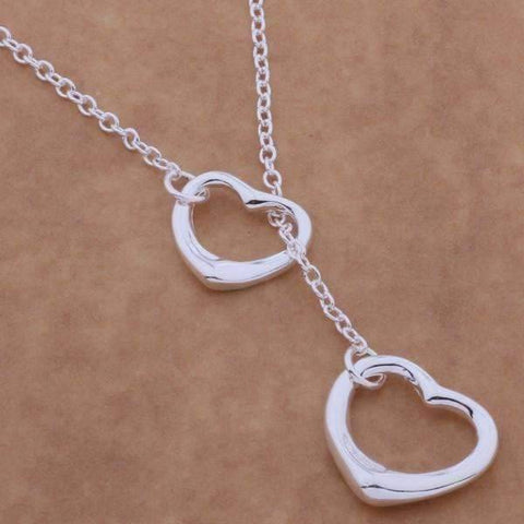Feshionn IOBI Sets Tangled Hearts Sterling Silver Matching Lariat Necklace and Bracelet Set