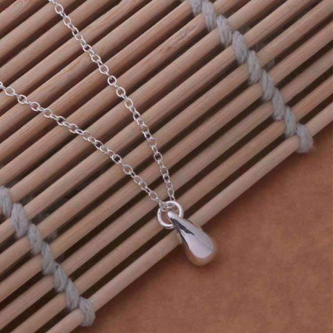 Feshionn IOBI Sets Tiny Teardrop Sterling Silver Matching Necklace and Earring Set