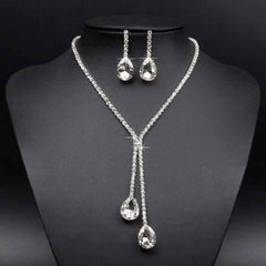 Feshionn IOBI Sets White Gold Deluxe Teardrop Crystal Choker Necklace and Earring Set