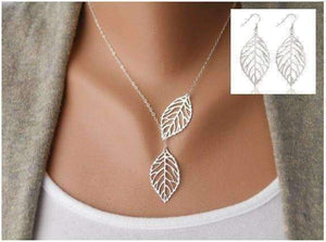 Feshionn IOBI Sets White Gold Discounted Set Seasons of Beauty Leaf Cut Out Necklace or Earrings