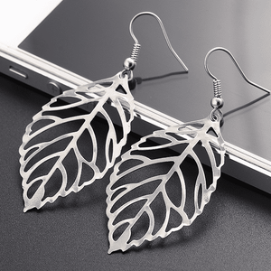 Feshionn IOBI Sets White Gold Earrings Seasons of Beauty Leaf Cut Out Necklace or Earrings