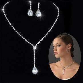 Feshionn IOBI Sets White Gold Teardrop Crystal Choker Necklace and Earring Set