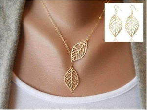 Feshionn IOBI Sets Yellow Gold Discounted Set Seasons of Beauty Leaf Cut Out Necklace or Earrings