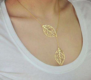 Feshionn IOBI Sets Yellow Gold Necklace Seasons of Beauty Leaf Cut Out Necklace or Earrings