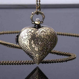Feshionn IOBI Watches Antique Bronze Heart Locket Pocket Watch