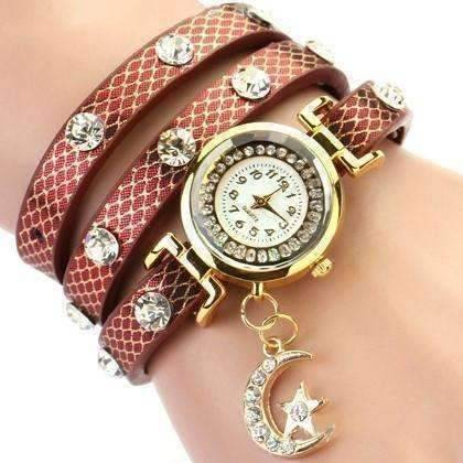 "Feshionn IOBI Watches Antique Cherry ""Look To The Moon And Stars"" Sparkly Wrap Bracelet Watch in Antique Cherry"