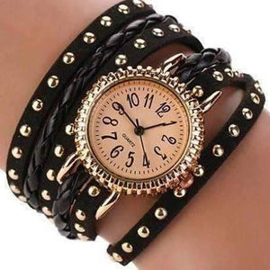 Feshionn IOBI Watches Black Bohemian Leather Wrap Bracelet Watch in Black