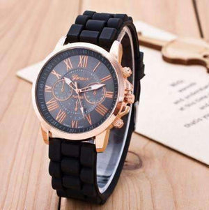 Feshionn IOBI Watches Black Casual Elegance Rose Gold Geneva Watch with Silicone Band ~ 3 Colors to Choose