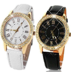 Feshionn IOBI Watches Black Casual Elegance Yellow Gold Geneva Watch With Matching Face ~ Two Classic Colors