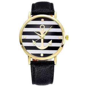 Feshionn IOBI Watches black CLEARANCE - Ahoy! Anchor Watch in Black and White Stripes