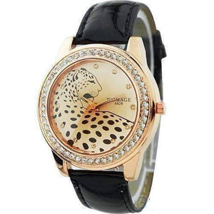 Feshionn IOBI Watches Black Fierce Leopard Ladies Leather Watch