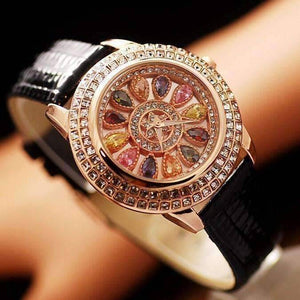 Feshionn IOBI Watches Black Kaleidoscope of Colors Deluxe Crystal & Leather Wrist Watch ~ Four Colors to Choose!