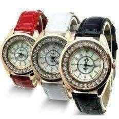 Feshionn IOBI Watches Black Mother of Pearl and Rose Gold Ladies Leather Watch - Black or White