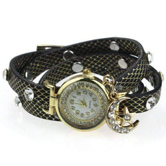 "Feshionn IOBI Watches Black ON SALE - ""Look To The Moon And Stars"" Sparkly Wrap Bracelet Watch in Black"