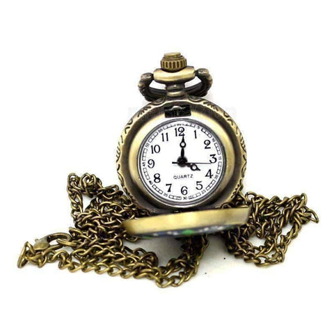 Feshionn IOBI Watches Blue and Green Flower Vintage Style Mini Pocket Watch Necklace