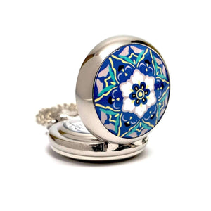 Feshionn IOBI Watches Blue and White Floral Vintage Style Mini Pocket Watch