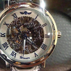 Feshionn IOBI Watches Blue Classic Skeleton Hand Wind Mechanical Watch Black Leather Strap For Men