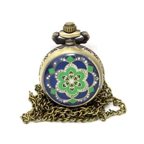 Feshionn IOBI Watches blue green Blue and Green Flower Vintage Style Mini Pocket Watch Necklace